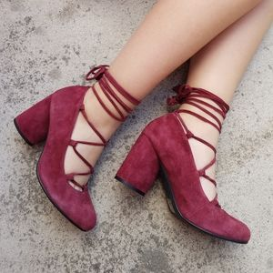 Jeffrey Campbell Red Suade Lace Up Block Heel S4.
